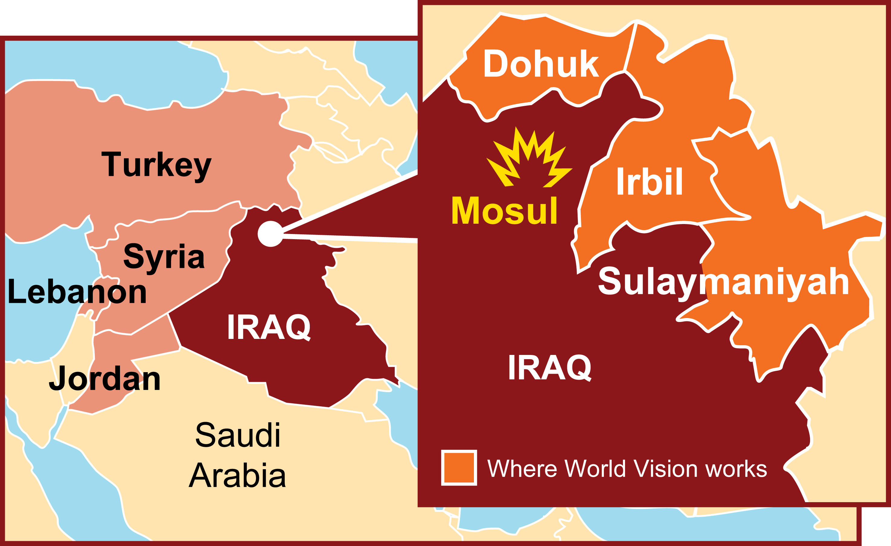 View map to see where World Vision is working in Iraq
