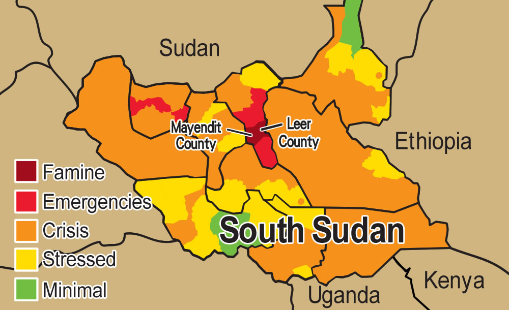World vision hong kong famine declared in south sudan this map shows the ipc which estimates the level of severity of food insecurity in different areas of south sudan freerunsca Image collections